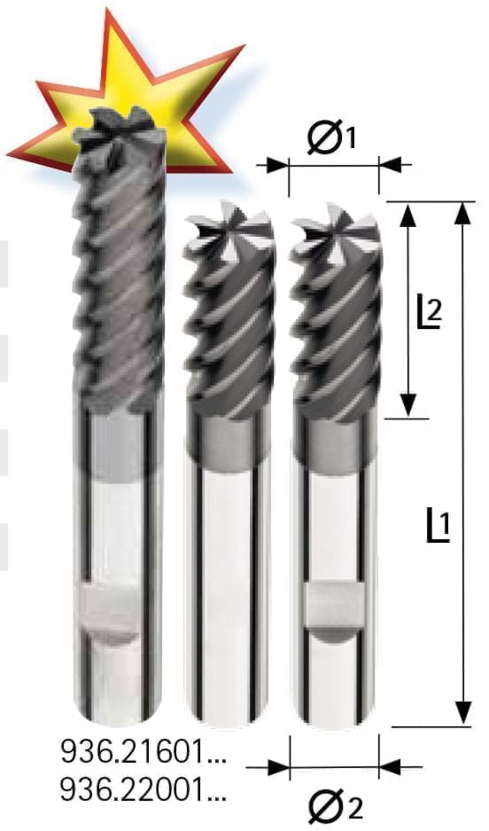 Solid carbide end millls DIN 6527, 6-8 flutes 936.2 Endmill Carbide รุ่นประหยัด